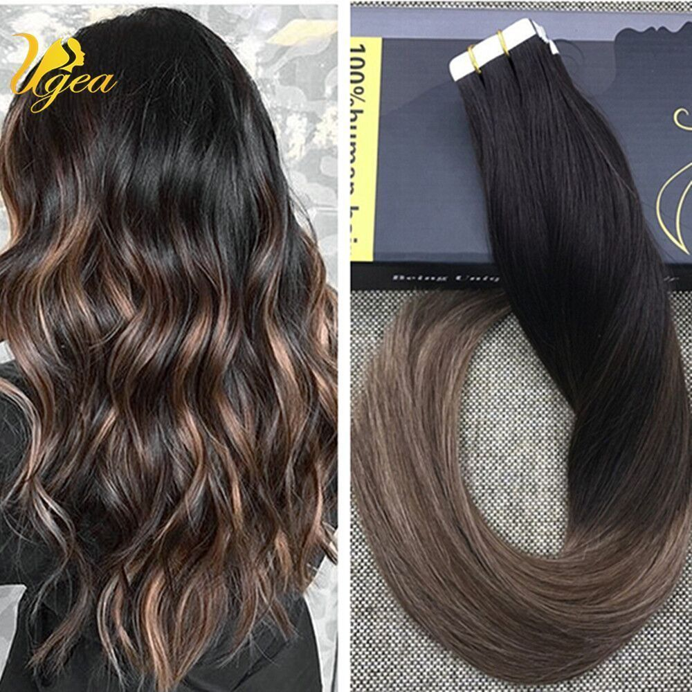 7a Balayage Ombre Dark Brown Mix Blonde Remy Tape In Real Human Hair