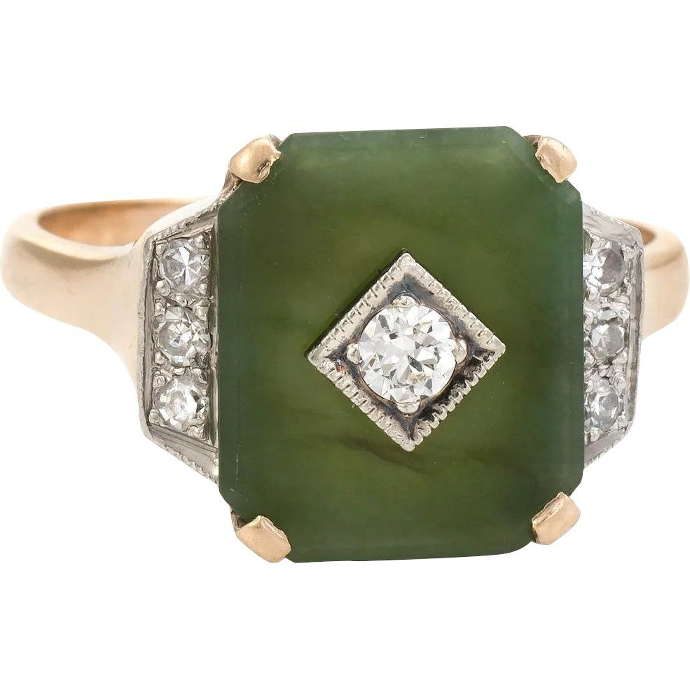 Antique Deco Jade Diamond Ring 10 Karat Gold Cocktail Estate Fine Jewelry Sz 6 25 Www Rubylane Com Art Deco Jewelry Rings Art Nouveau Jewelry Beautiful Jewelry
