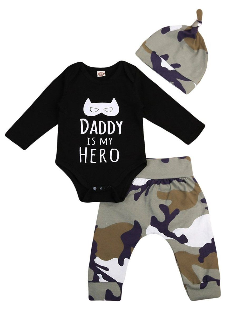 e50ffa43ad9bc Daddy Is My Hero Baby Boy Outfit | Babies | Baby boy camo ...