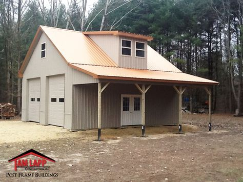 Residential Pole Building in Woodbine New Jersey. Pitch Attic Trusses, Painted 29 GA. Steel, 40 Year Metal Roof and Sides with Trim Package, #polebarngarage