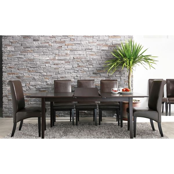 ABBYSON LIVING Kingston Cappuccino Wood Expandable 7 Piece Dining