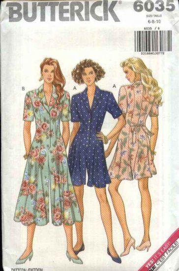 Butterick Sewing Pattern 6035 Misses Size 6-8-10 Easy Culotte Split ...