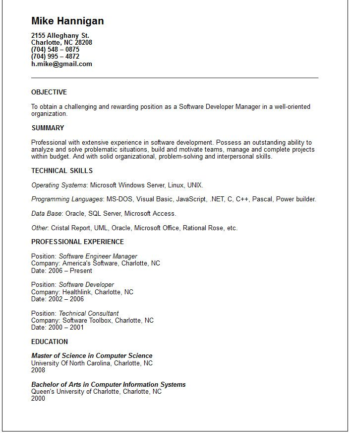 Cover letter software development manager Sample Resume for an - software developer resume example