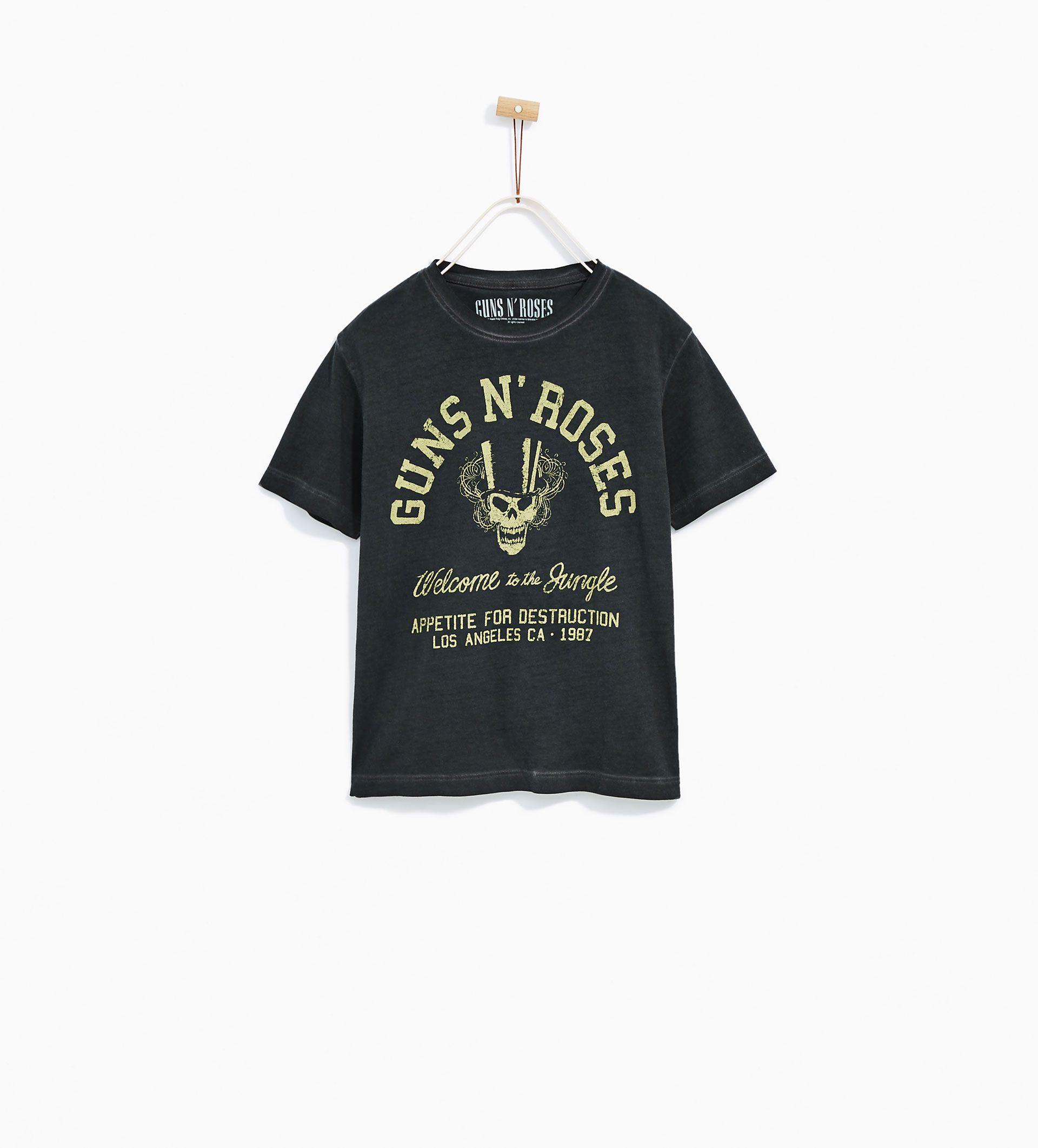 Camisetas de Kiss, Metallica y Nirvana, para peques, en Zara