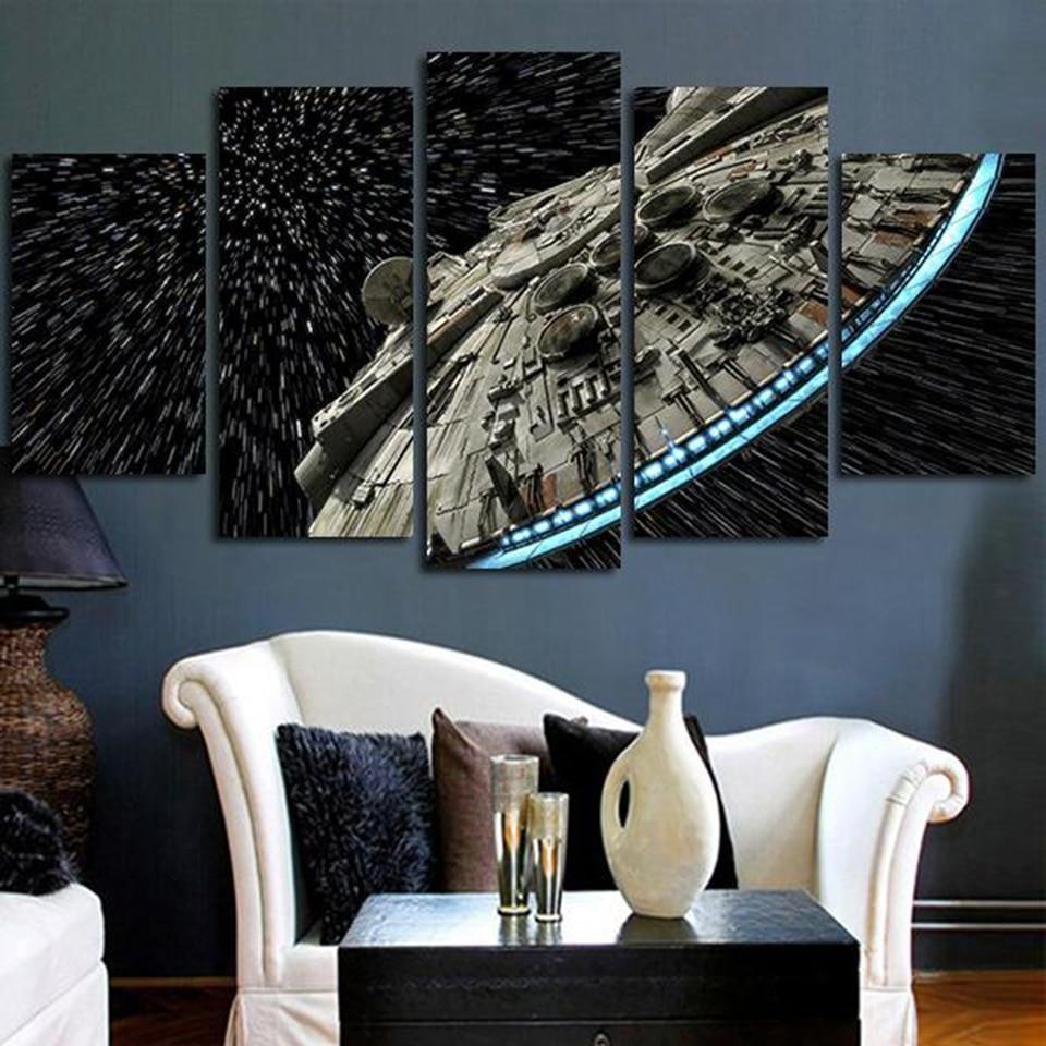 Millennium Falcon Light Speed Star Wars Movie Canvas Wall Art Star Wars Wall Art Star Wars Canvas Painting Star Wars Bedroom