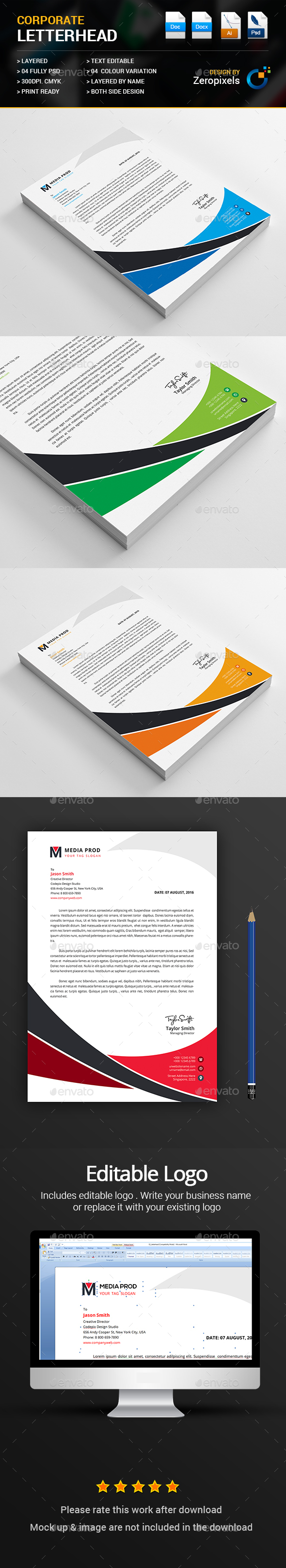 Business letterhead template psd vector eps ai ms word business letterhead by zeropixels spiritdancerdesigns Gallery