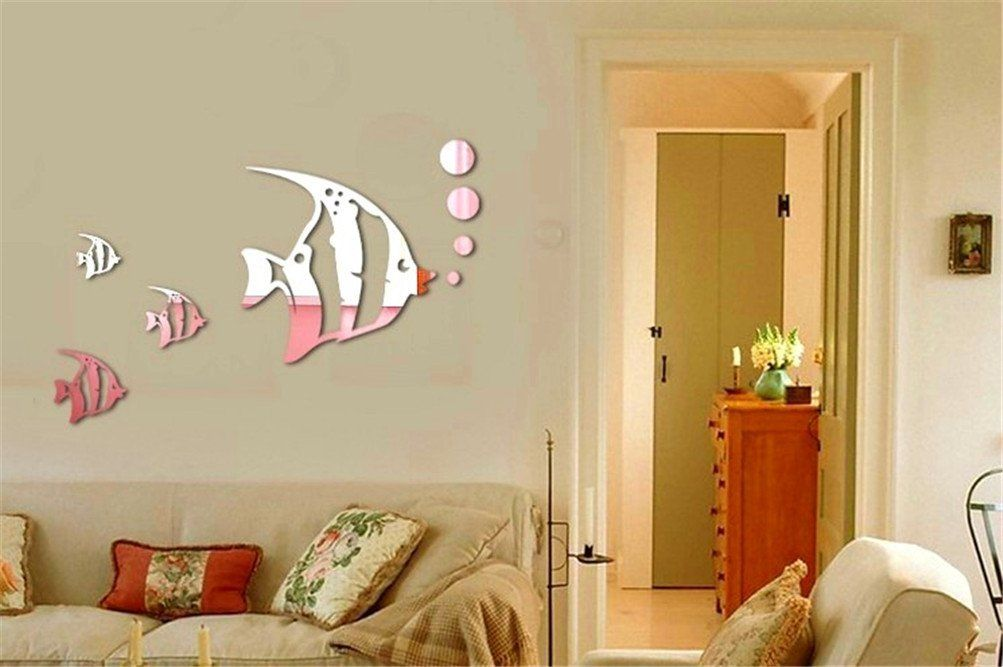 Niwota Fish Wall Decal 3d Stereoscopic Mirror Sticker Removable