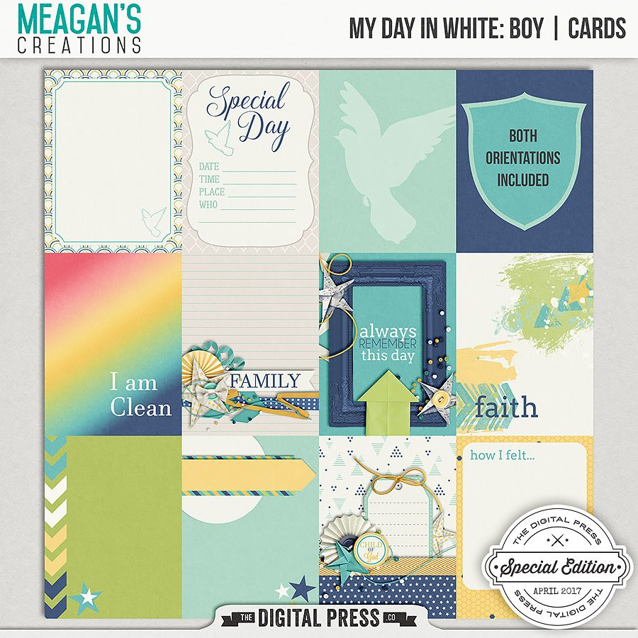 My Day in White Boy journal cards by Meagan's Creations - set of twenty four journal cards, of twelve different designs two orientations.