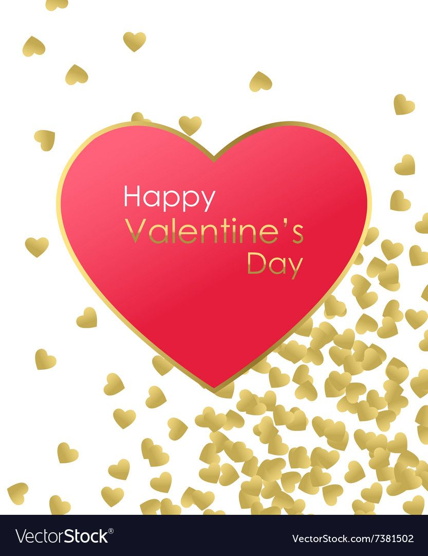 Happy Valentines Day Gold Background. Gold and red heart with golden ...