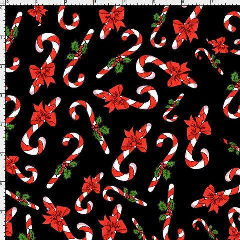 Candy Cane Crowd Black Fabric Yard