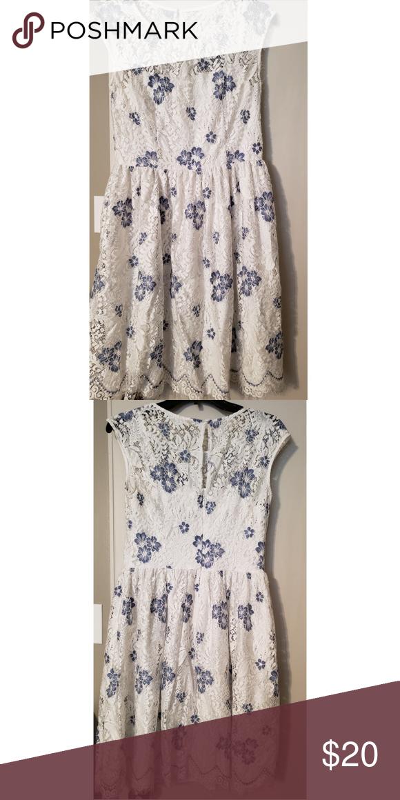 04e02c73fd Leslie Fay Day Dress Blue flowered