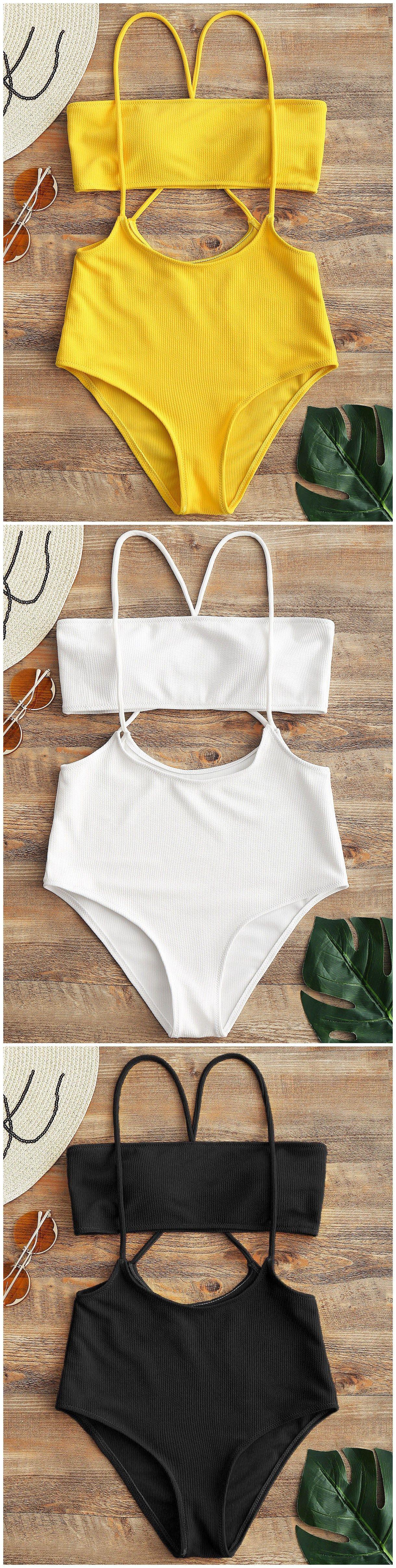 28409b5a15 Bandeau Top And High Waisted Slip Bikini Bottoms. #Zaful #Swimwear #Bikinis  zaful,zaful outfits,zaful dresses,spring outfits,summer dresses,Valentine's  Day ...