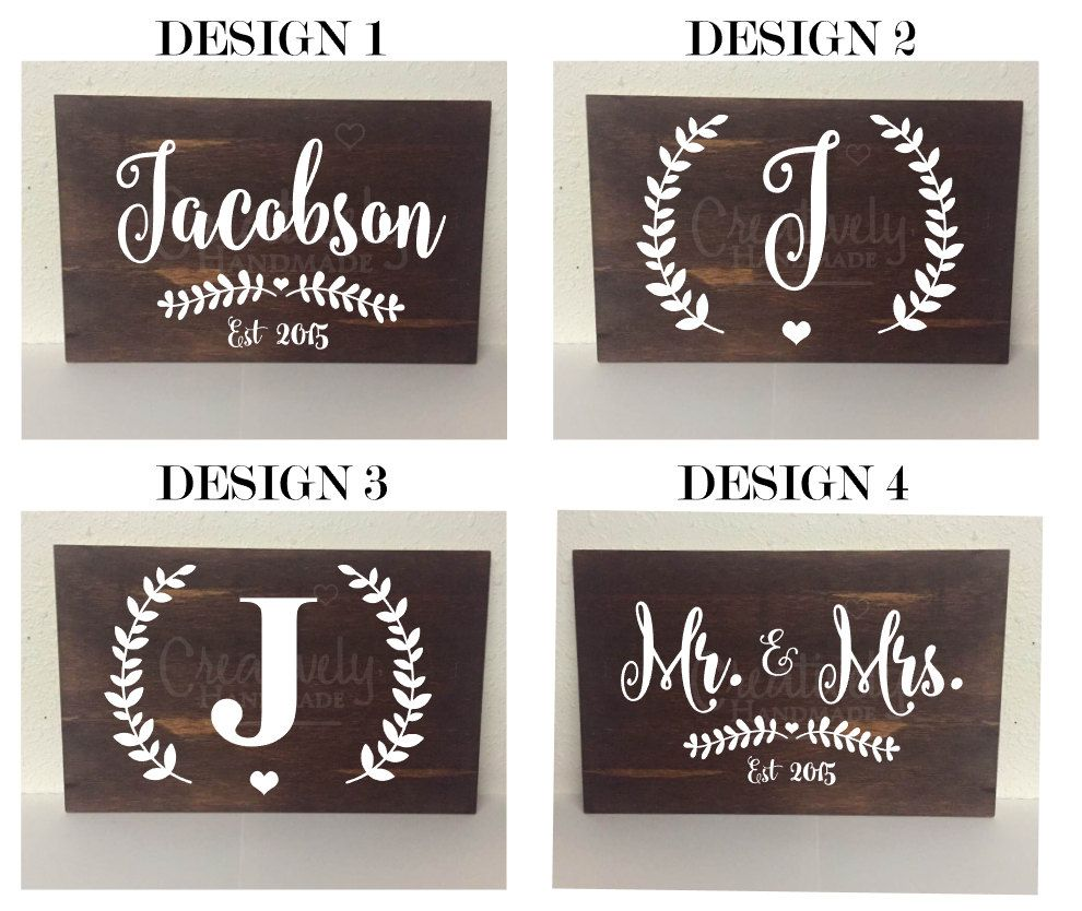 Personalized Last Name Elished Wood Sign Initial Mr And Mrs Decor