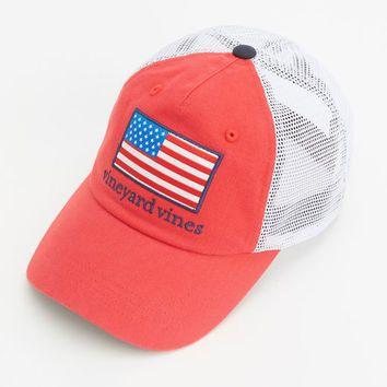 Shop American Flag Patch Trucker Hat at vineyard vines  d7f8db31936
