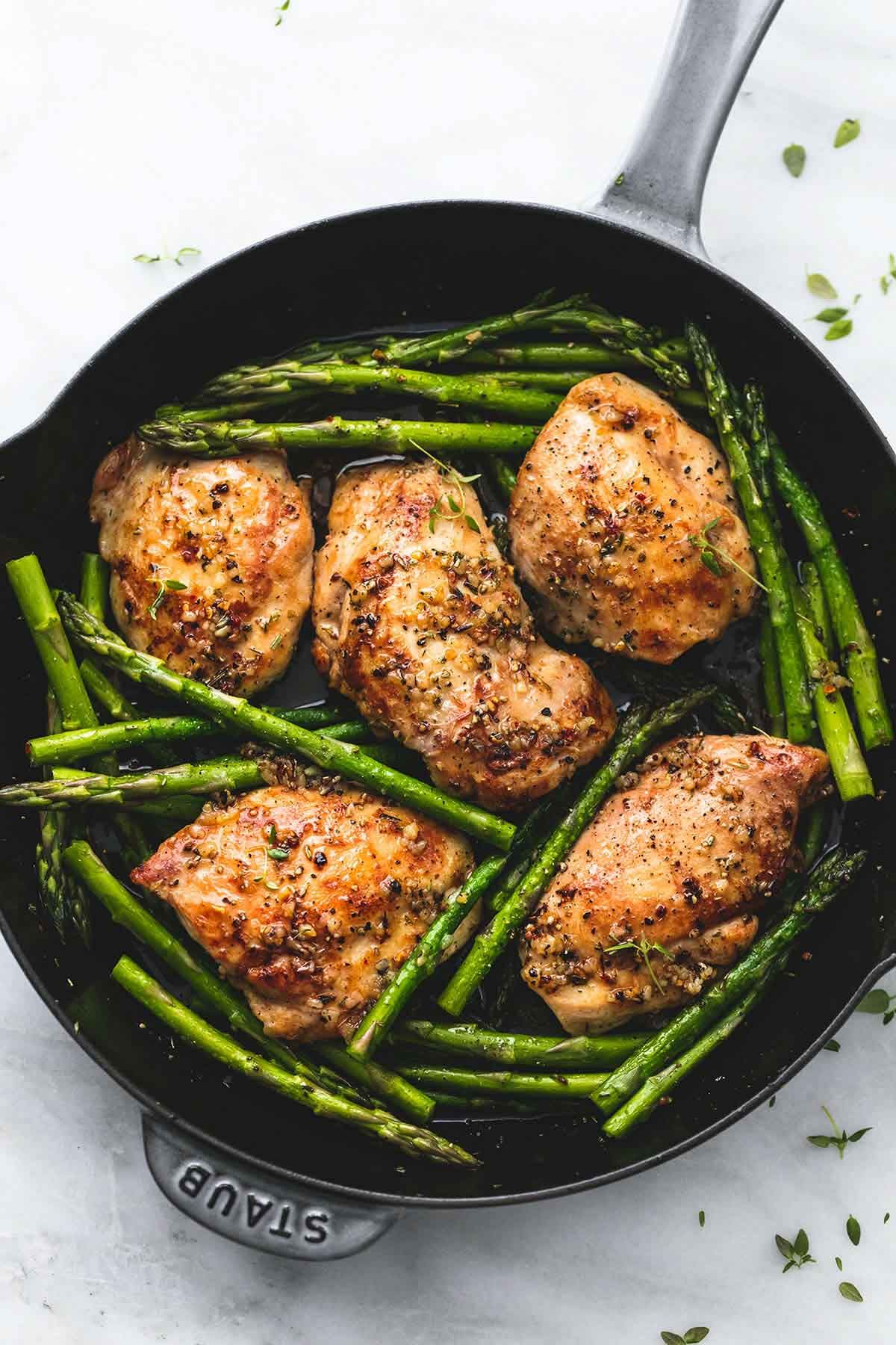 One Pan Garlic Herb Chicken and Asparagus | lecremedelacrumb.com