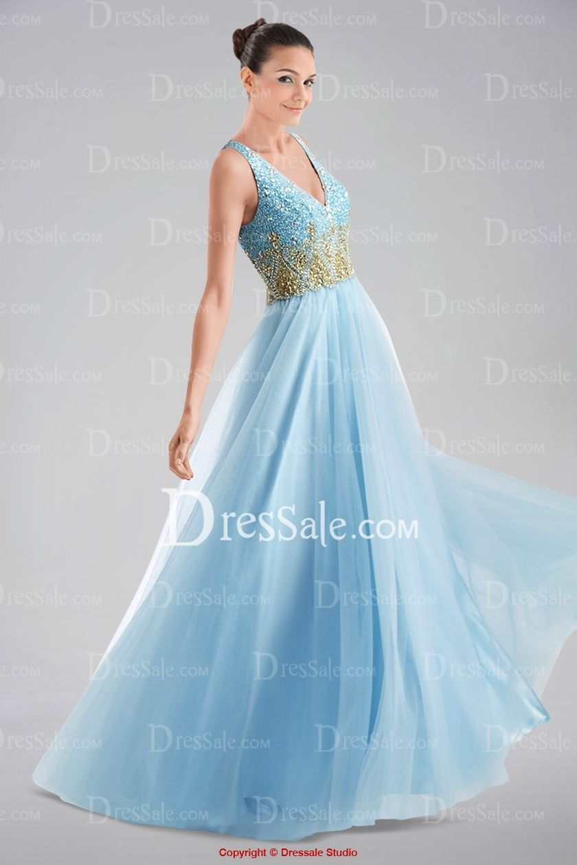 Elegant V-neckline Straps Keyhole Back A-line Prom Dress in Colorful Sequins