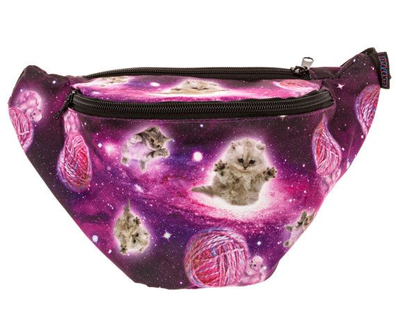 026877ae446c Galaxy Cat Fanny Pack - Cute cool rave festival waist bag with ...
