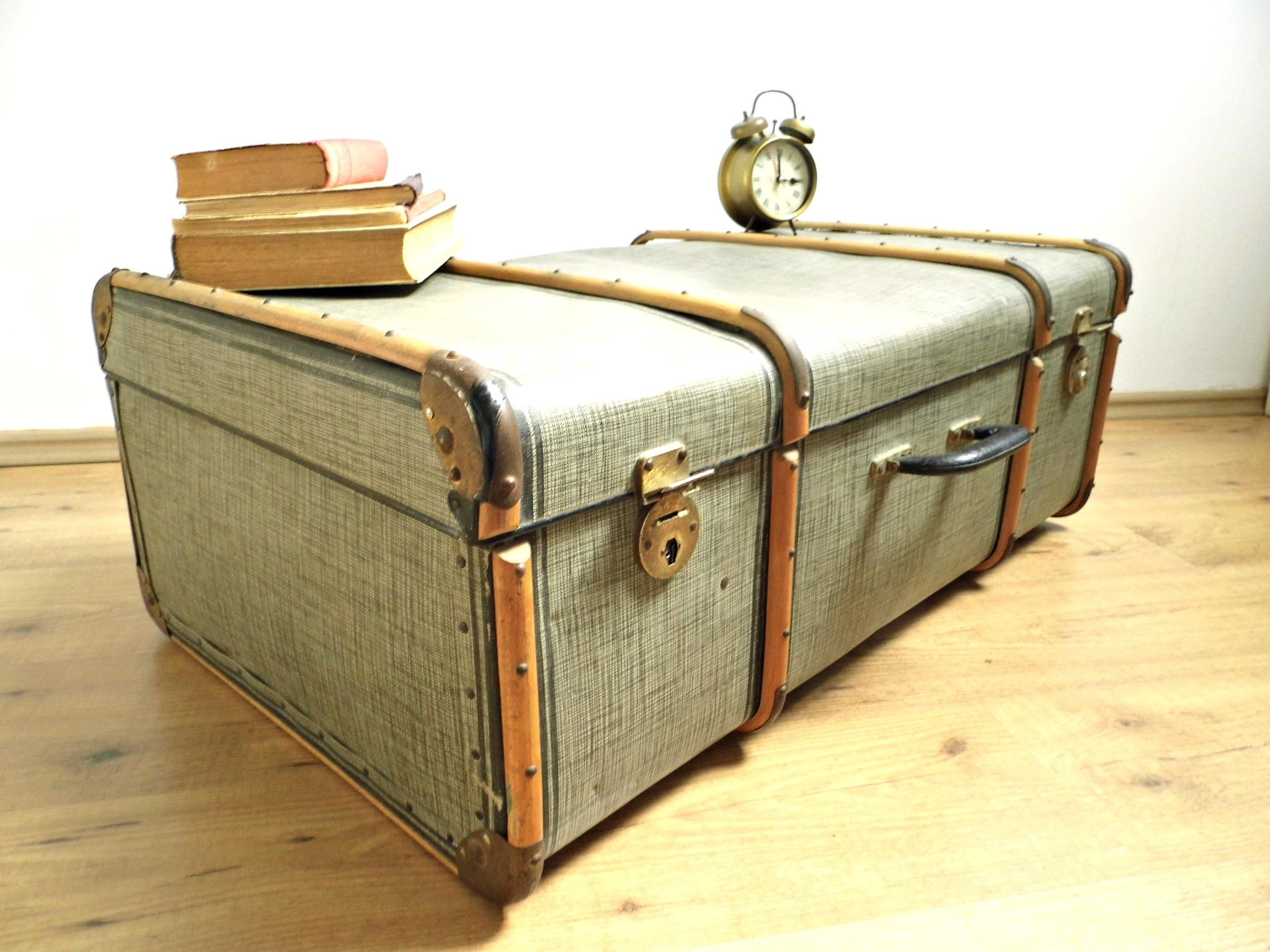 Vintage Steamer Trunk Antique Gray Black Plaid Luggage Case