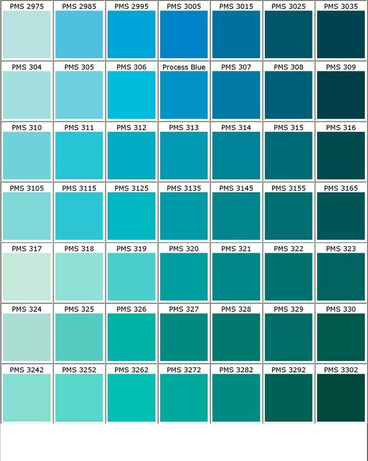 quelques tons dans les bleu vert particulierement 2 dernieres colonnes sur 4 premieres lignes nuancier pantone snorkel blue color pms 335