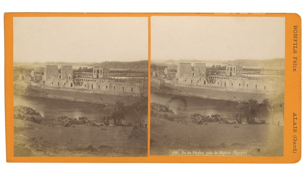 "Philae, being accounted one of the burying-places of Osiris, was held in high reverence to Egyptians. This is the original location, before it was moved ""Bonfils Stereoscopic Views Series: """"Vues de tout l'Orient"""" [c 1867-c 1914]"