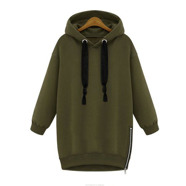 Stylish Solid Color Long Sleeve Zippered Hoodie For Women #men, #hats, #watches, #belts, #fashion, #style