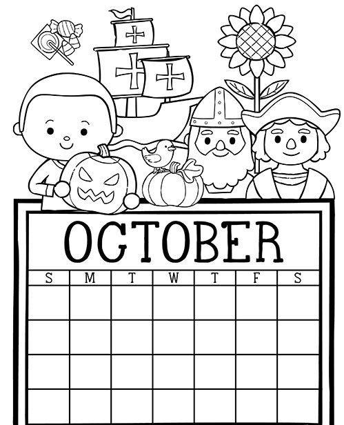 october printable calendar for kids | Kids calendar ...