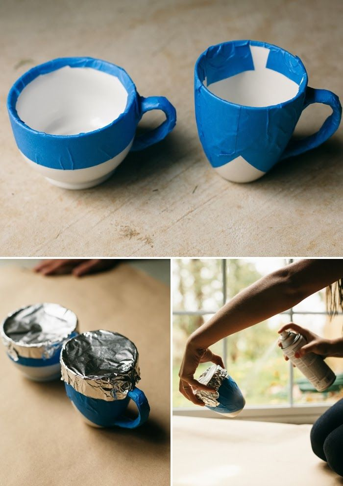 5 Minute Diy Spray Paint Ceramic Mugs Via Poppytalk Afternoon
