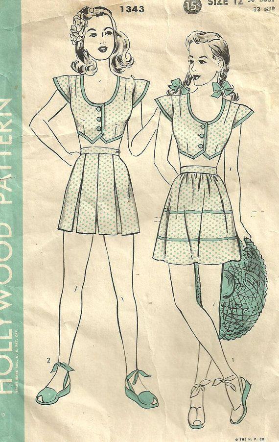 Hollywood 1343 // Vintage 40s Sewing Pattern // Playsuit Bra Top ...