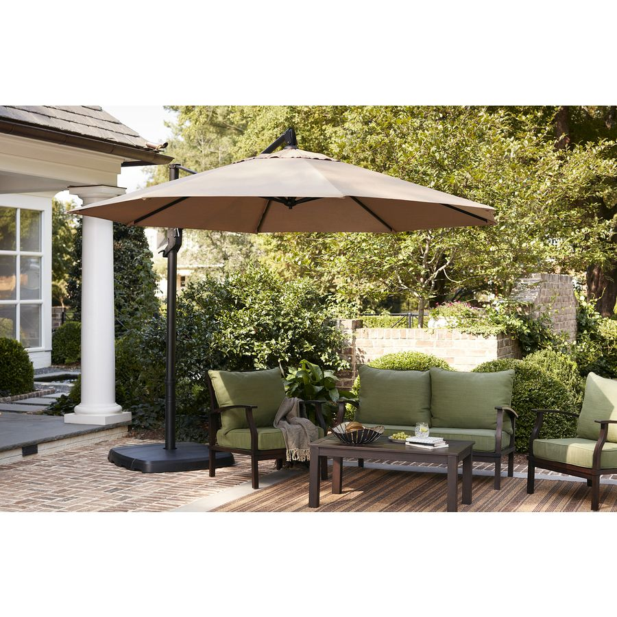 Shop Allen Roth Offset Patio Umbrella With Base Common 12 46 Ft W X 12 46 Ft L Actual Offset Patio Umbrella Patio Umbrella Outdoor Patio Diy