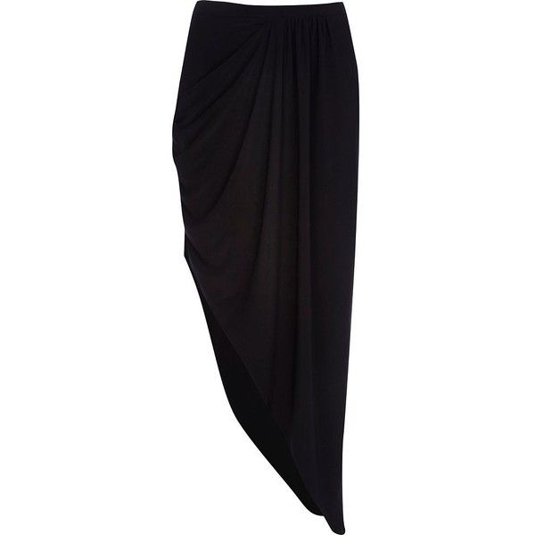 river island black draped asymmetric maxi skirt 13