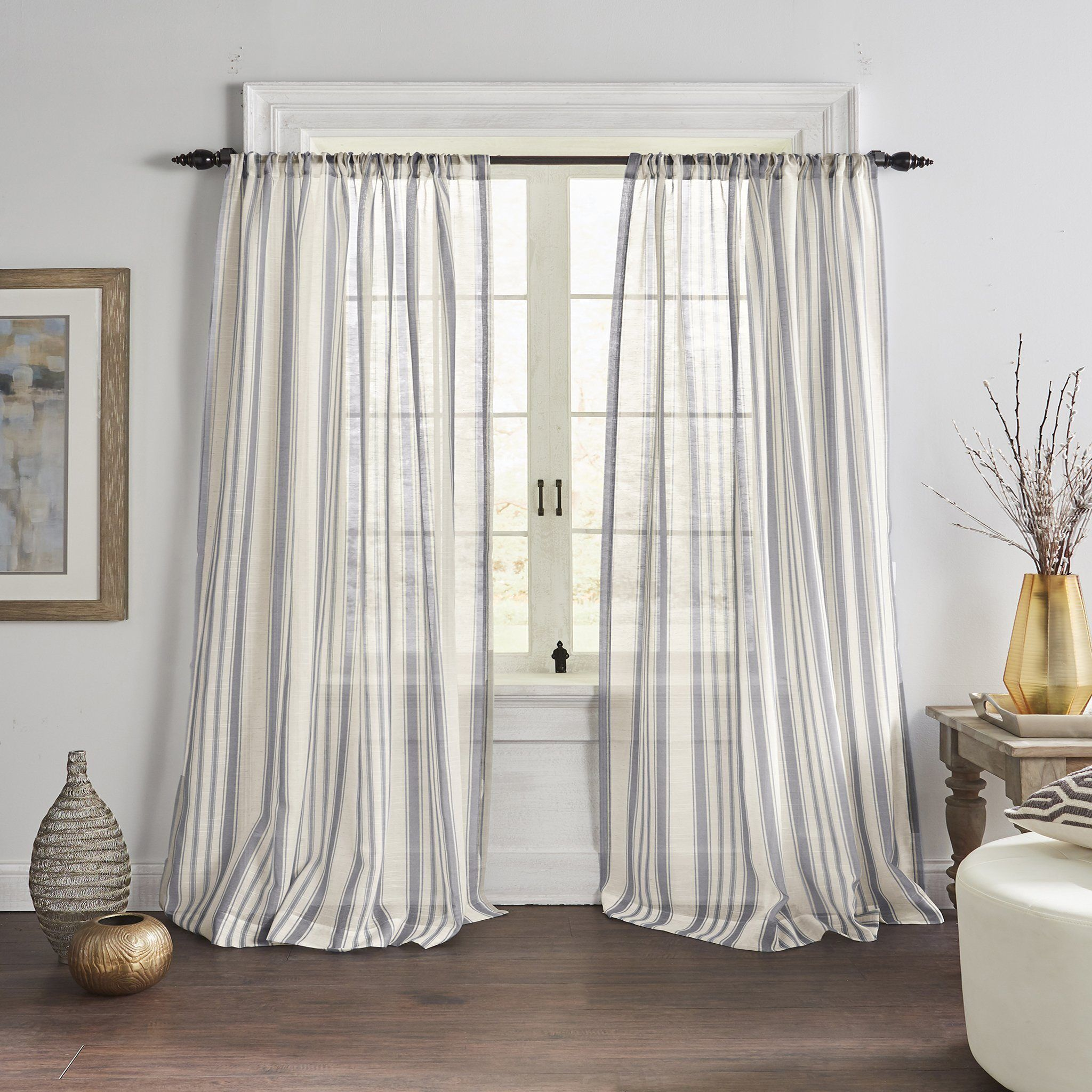 The Hampton Striped Sheer Features A Poly Linen Texture That Has A