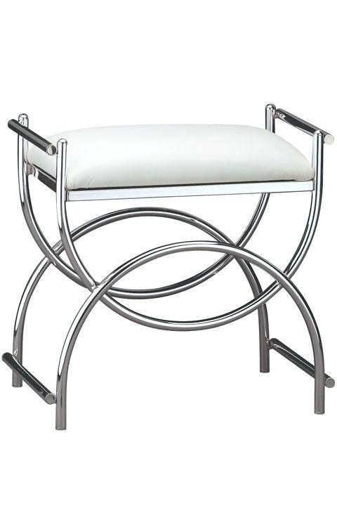 Wondrous Curve Chrome Vanity Bench Vanity Stools Bedroom Bralicious Painted Fabric Chair Ideas Braliciousco