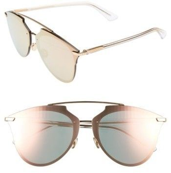10943fd72a Christian Dior Women s Reflected Prism 63Mm Oversize Mirrored Brow Bar  Sunglasses - Gold  Crystal