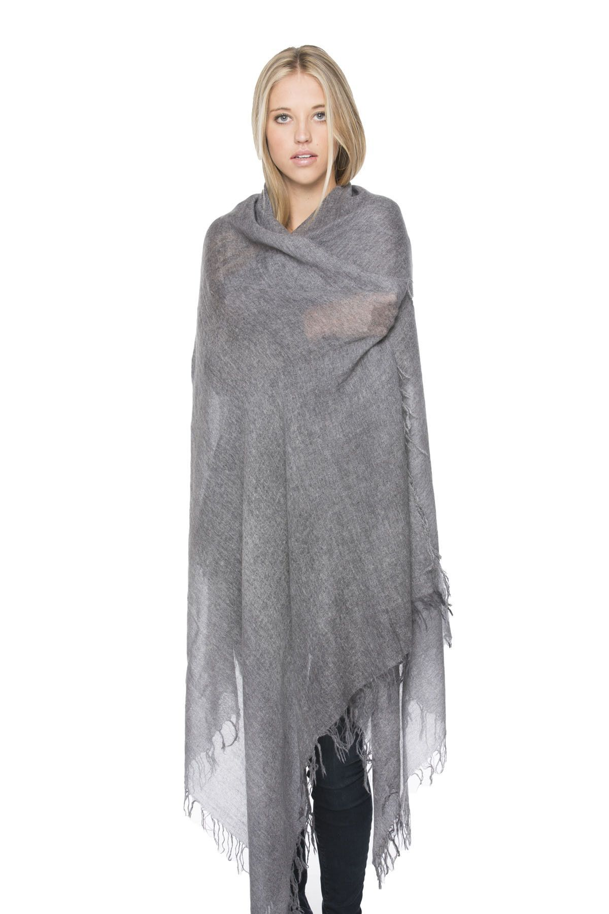 100% Cashmere Luxury Scarf, New York Parkway print in Charcoal