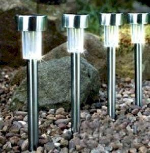 Set 4 farol lampara led luz con energ a solar para jardin - Farol solar para jardines y exteriores ...