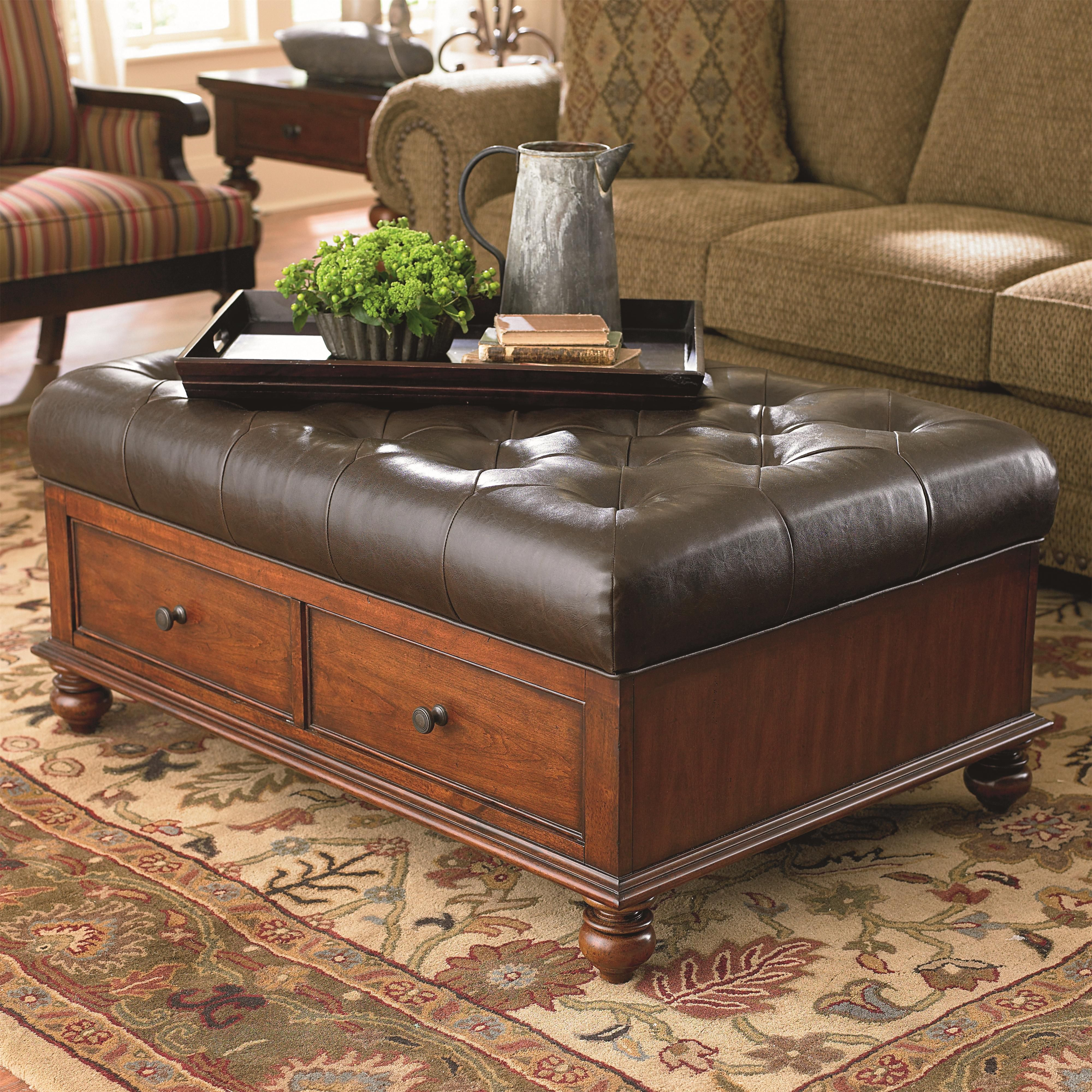 Warrenton Ottoman Cocktail Table with 2 Drawers by Bassett