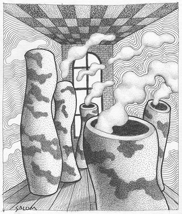 De unas imaginárias chimeneas salen los vapores de \