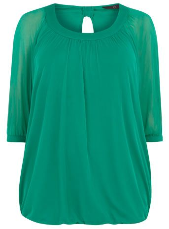 b5d11098607ea2 Evans Green Mesh Bubble Hem Top