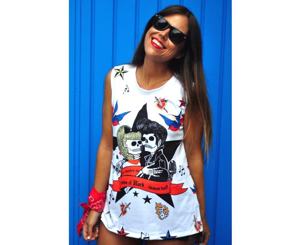 Camiseta La Pantera Lola Sin Mangas Cuello Redondo Impresión Parte Delantera Y Trasera Color Blanco Forma Evasé Ropa Tiendas De Ropa Camisetas