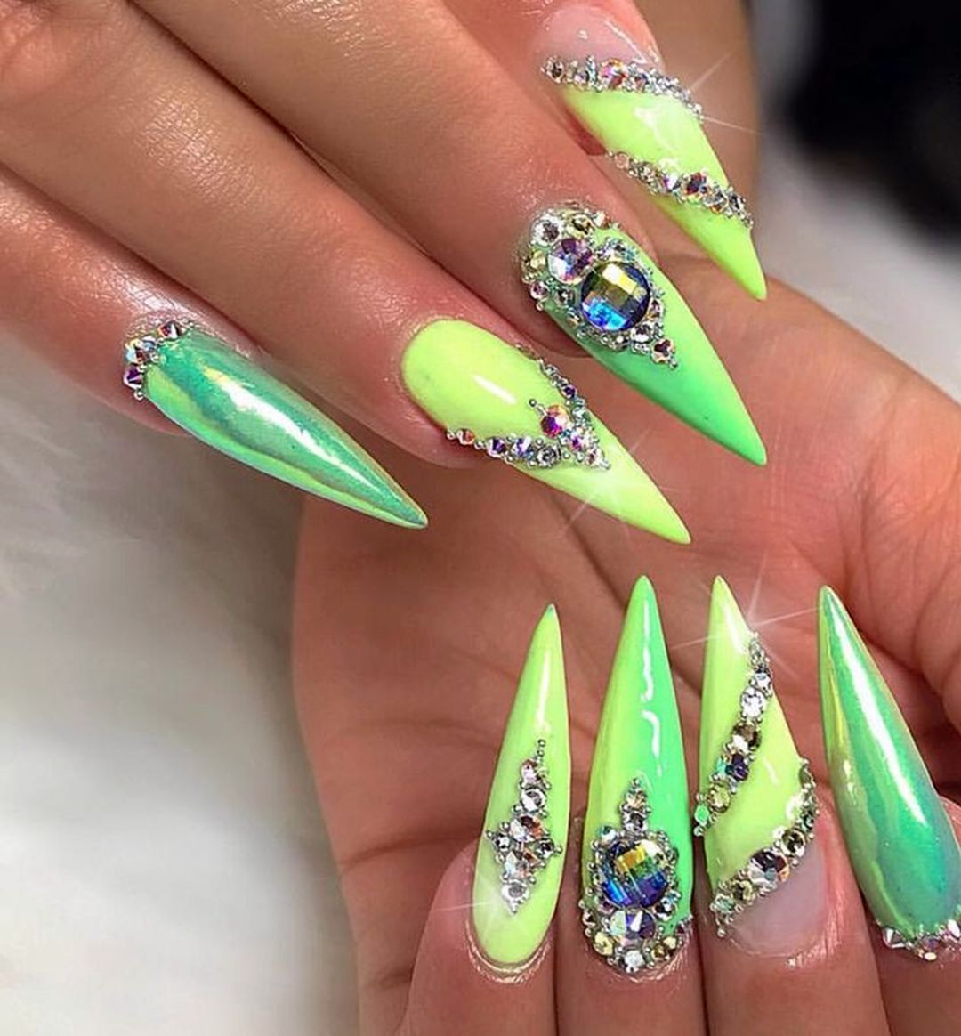 Light Green In 2020 Green Nails Stiletto Nails Designs Acrylic