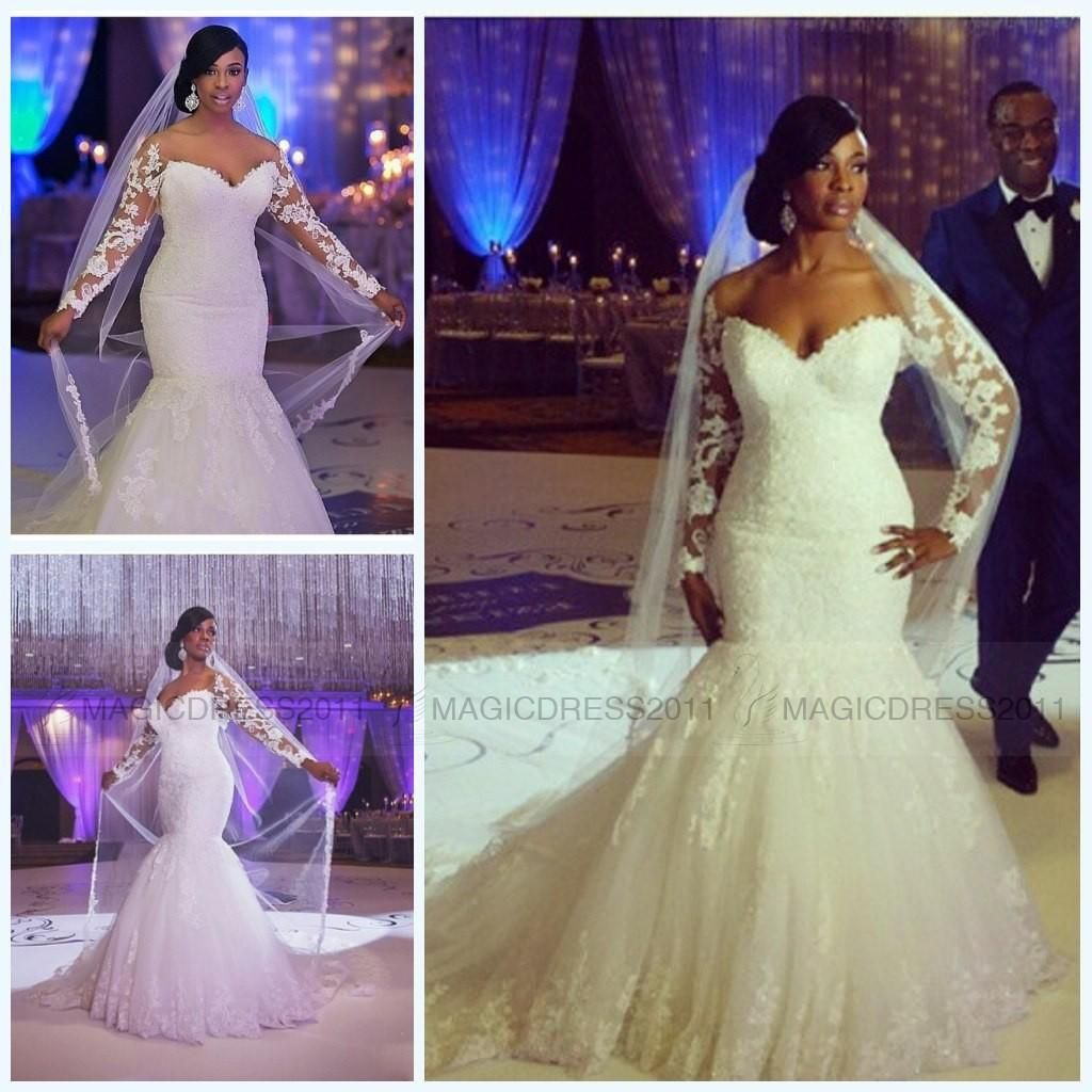 gorgeous mermaid wedding dresses with long sleeve beach bridal