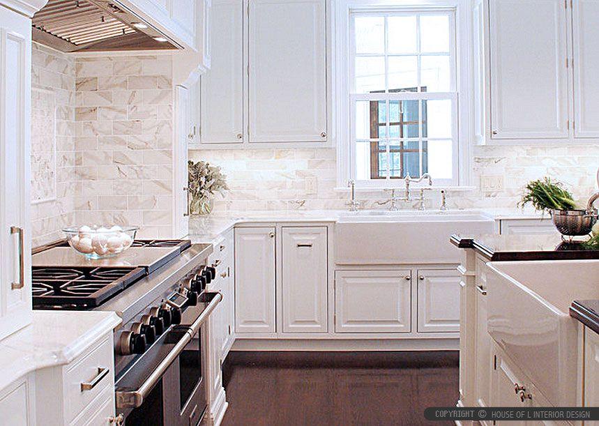 Best Calacatta Gold Subway Tile White Kitchen Cabinets 400 x 300