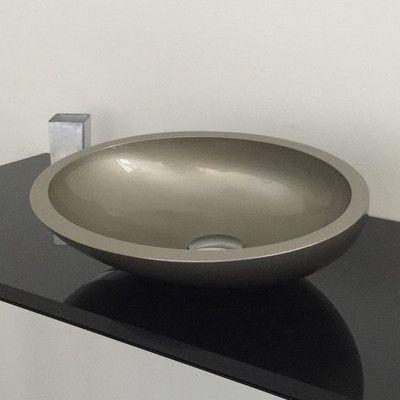 Maestro Bath Vetro Freddo Resin Oval Vessel Bathroom Sink Sink
