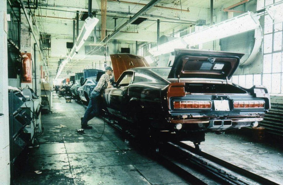 Shelby Mustangs roll down the assembly line at A.O. Smith in 1969.