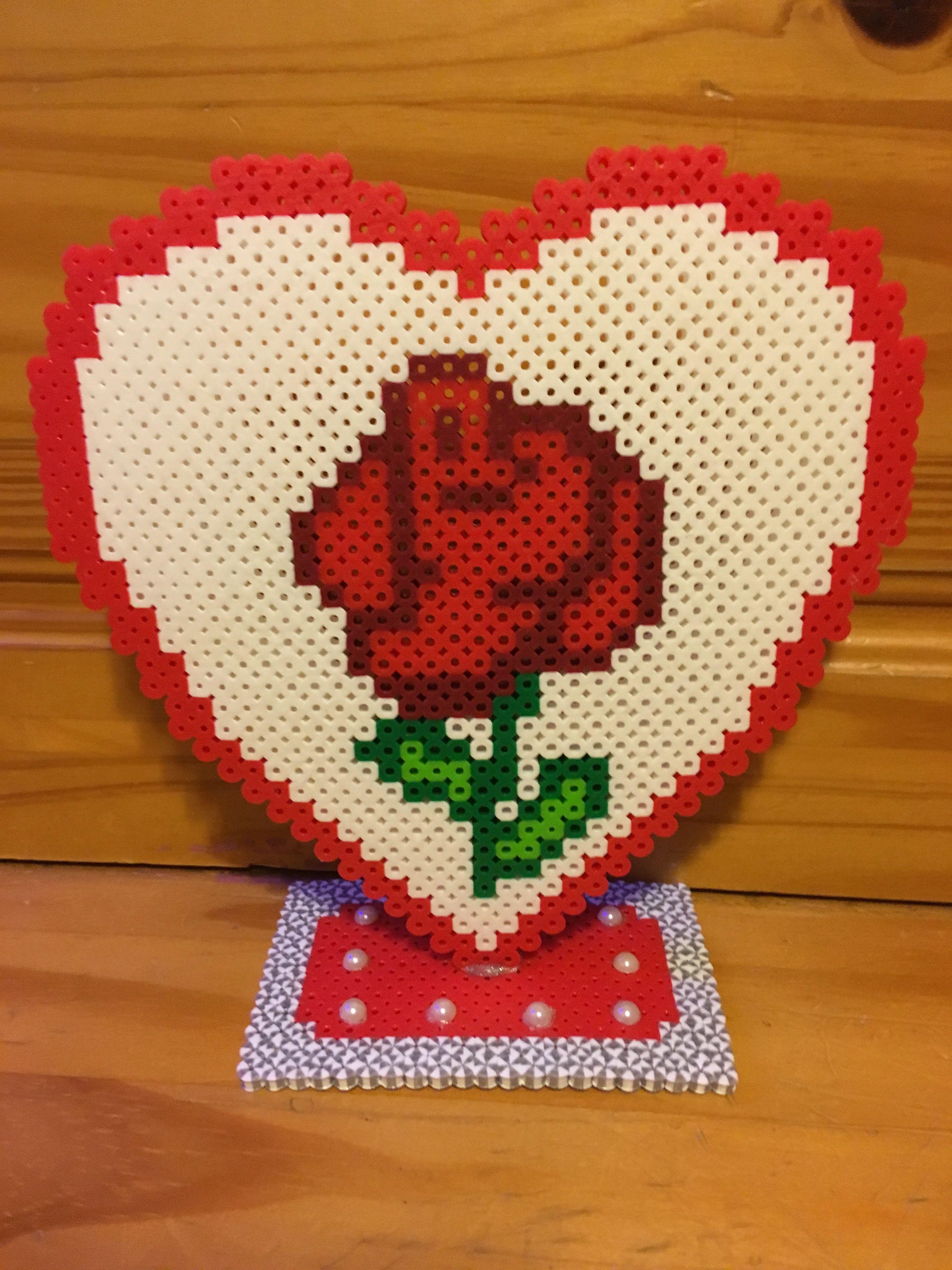 handmade! Heart card made of fuse beads