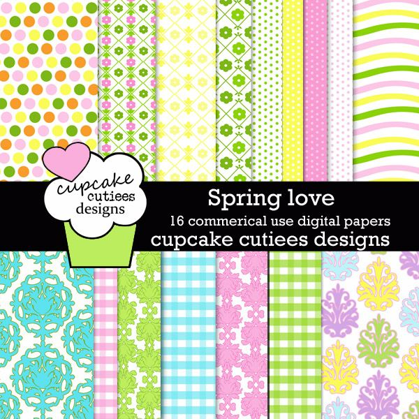 Spring Love Papers. These are beautiful!! Great for invitations, cards, and paper goods. Great scrapbooking papers!