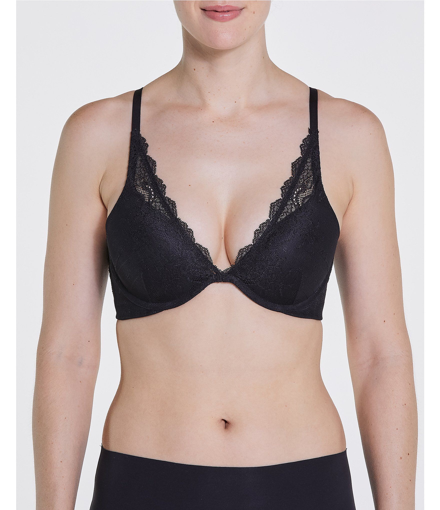 Spanx Undie Tectable Push Up Plunge Bra Very Black 36dd Plunge