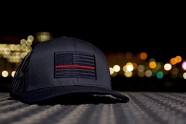 Thin Red Line Hat American Flag Hat Hats Black Trucker Hat