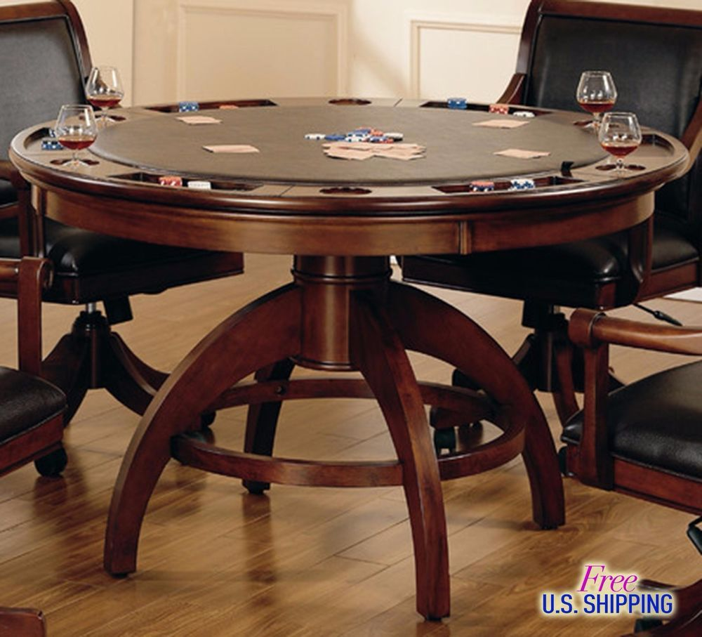 Wooden Poker Table Dining Checkers Chess Texas Holdem Multi Game