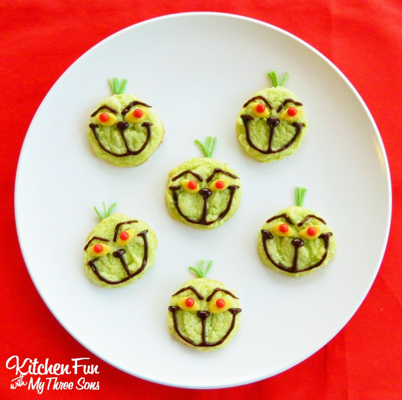 the grinch easy christmas cookies using pre made ingredients kitchenfunwithmy3sonscom - Easy Christmas Cookies For Kids